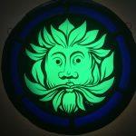 Green Man roundel - Blue border